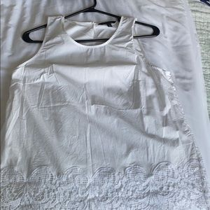 White lace hemmed blouse